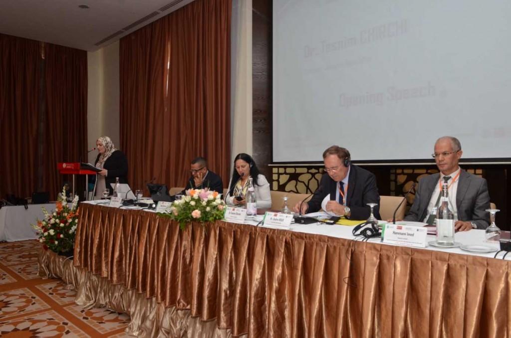 *صورة للجلسة الأولى من اليمين، السيد عماد الحمامي، السيد آندري رو، السيدة مادي شارما، السيد جمال الدين الغربي.